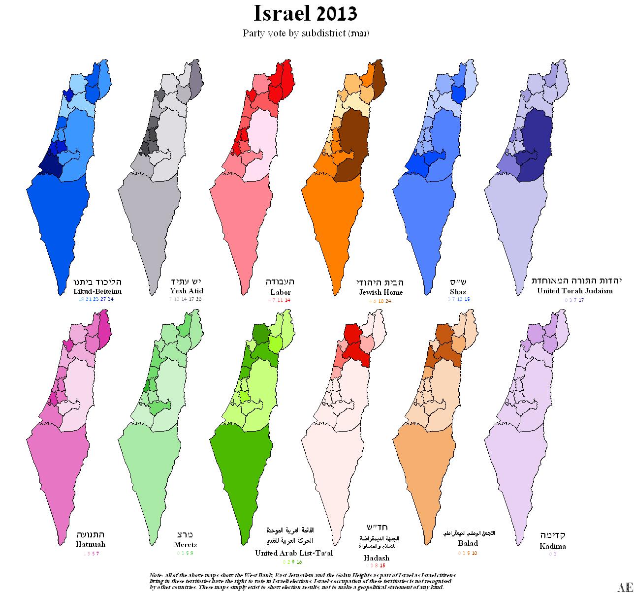 Israel. Legislative Election 2013   Electoral Geography 2.0