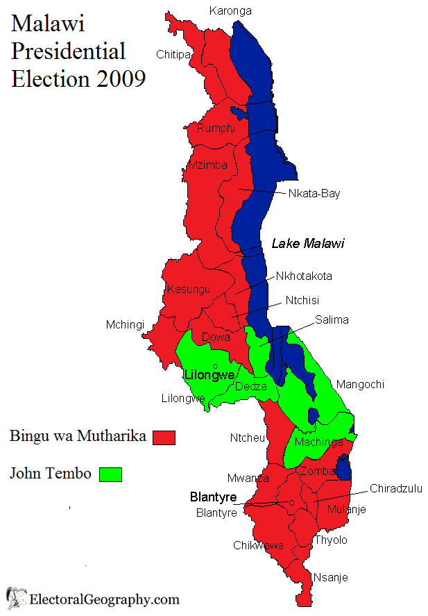 Malawi Presidential Election Electoral Geography - Malawi map png