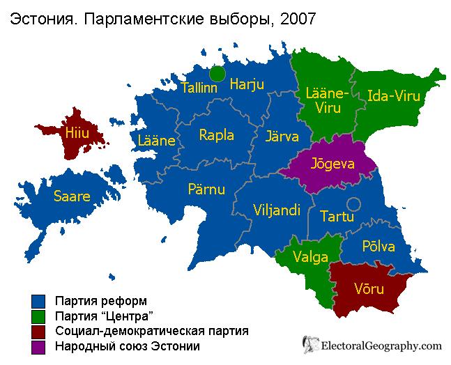 эстония парламентские выборы 2007 карта