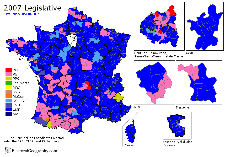 france legislative election 2007 results map first round