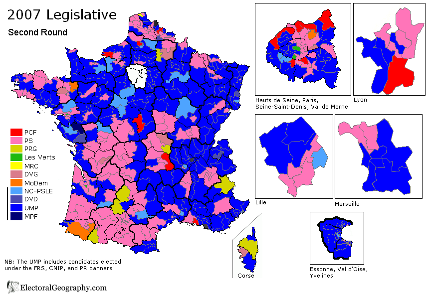 france legislative election 2007 results map second round