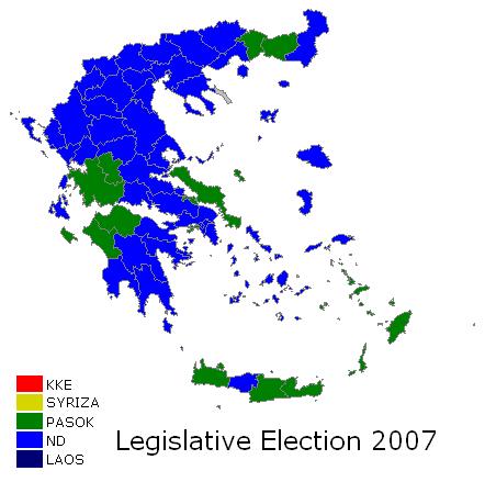 Greece legislative election 2007 map