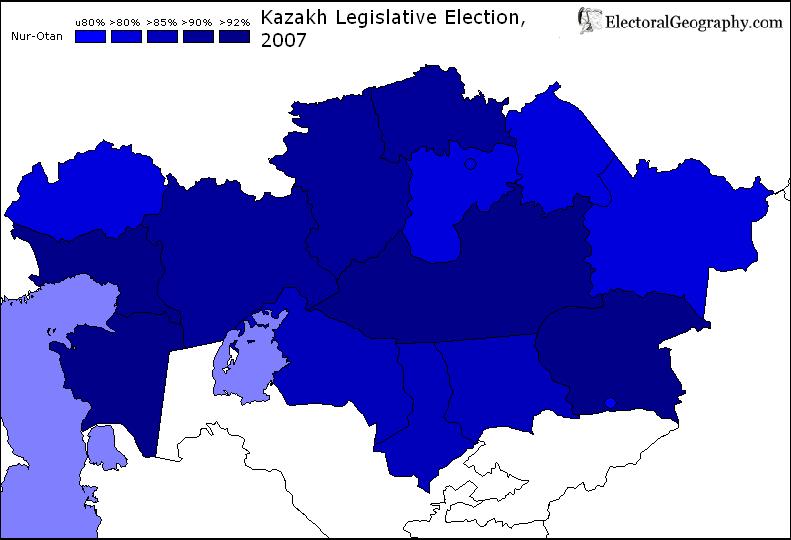 2007 kazakhstan legislative election results map nur-otan