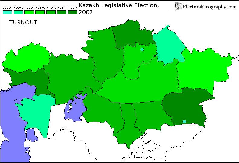 2007 kazakhstan legislative election results map nurnout